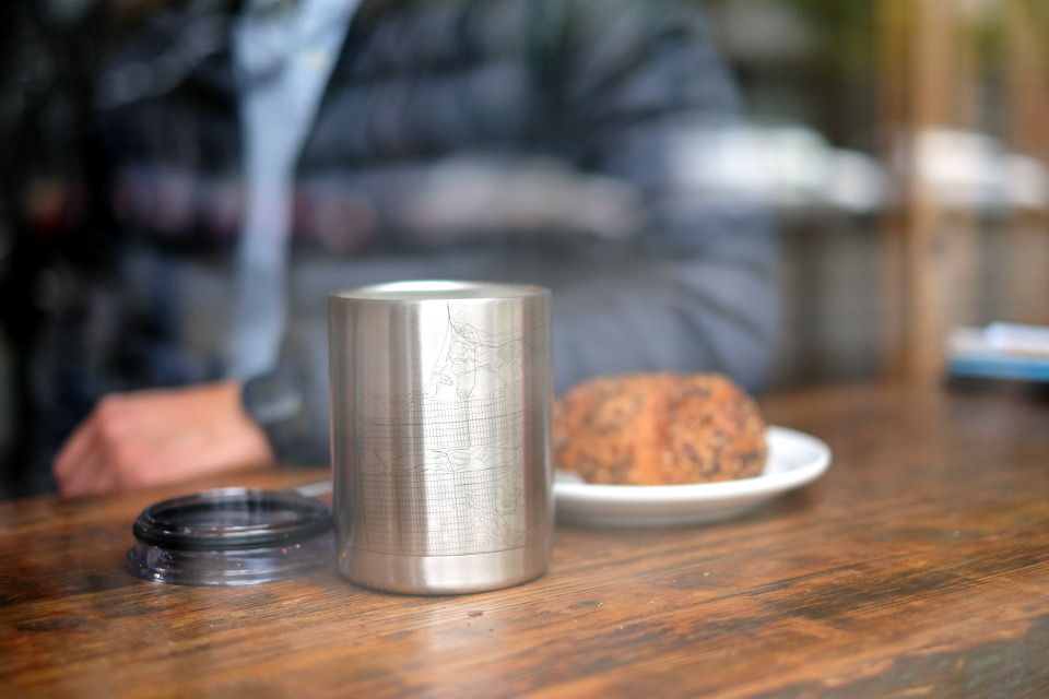 Shorty but mighty stainless steel cup with custom linart engraved map